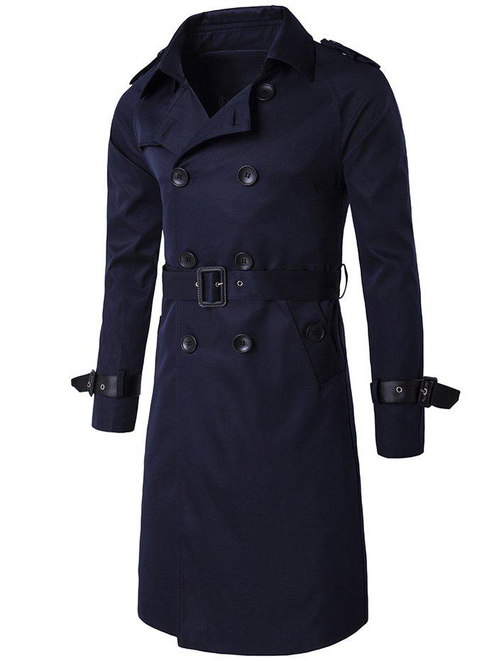 Epaulet Double-Breasted PU-Leather Belt Embellished Trench Coat slim double breasted tied belt trench coat