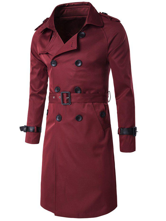 Epaulet Double-Breasted PU-Leather Belt Embellished Trench Coat - WINE RED M