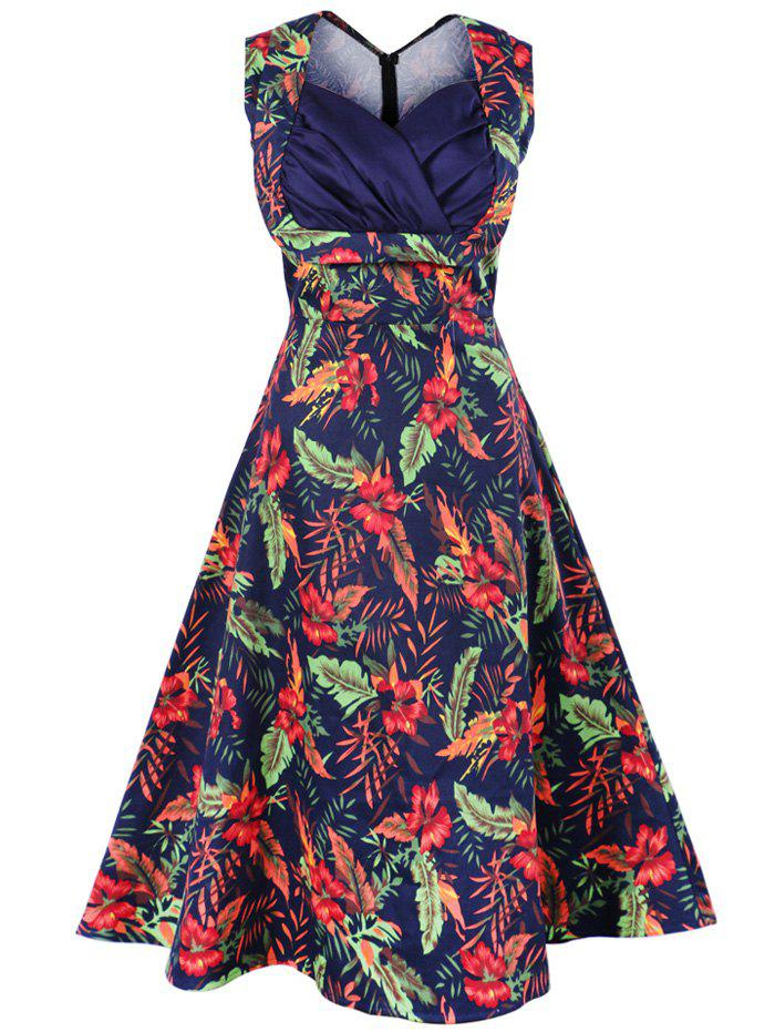 Vintage Swing Sleeveless Print Dress - DEEP BLUE 4XL