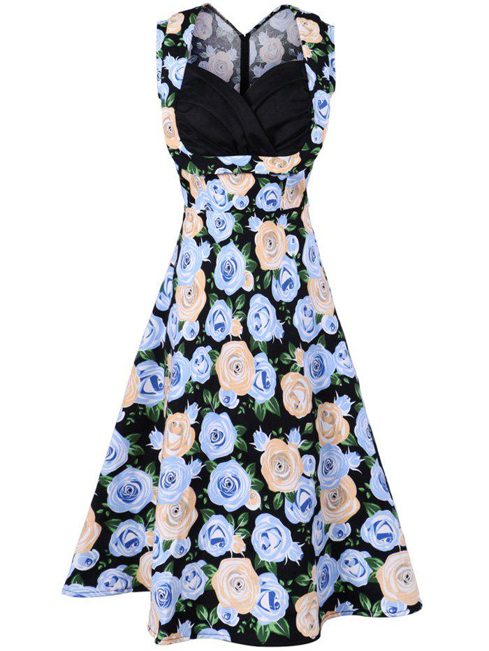 Vintage Sleeveless Print Swing Dress - BLACK XL
