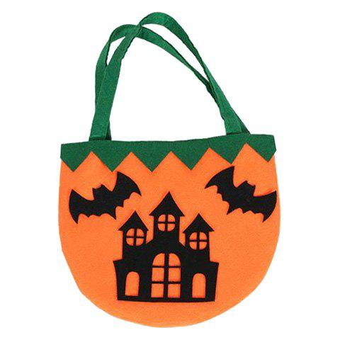 Halloween Castle Pattern Color Block Handbag - BLACK