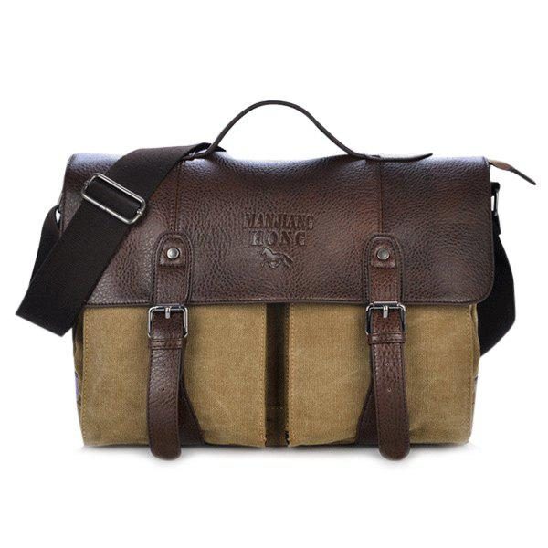 Snap Closure Double Buckle Canvas Messenger Bag - KHAKI