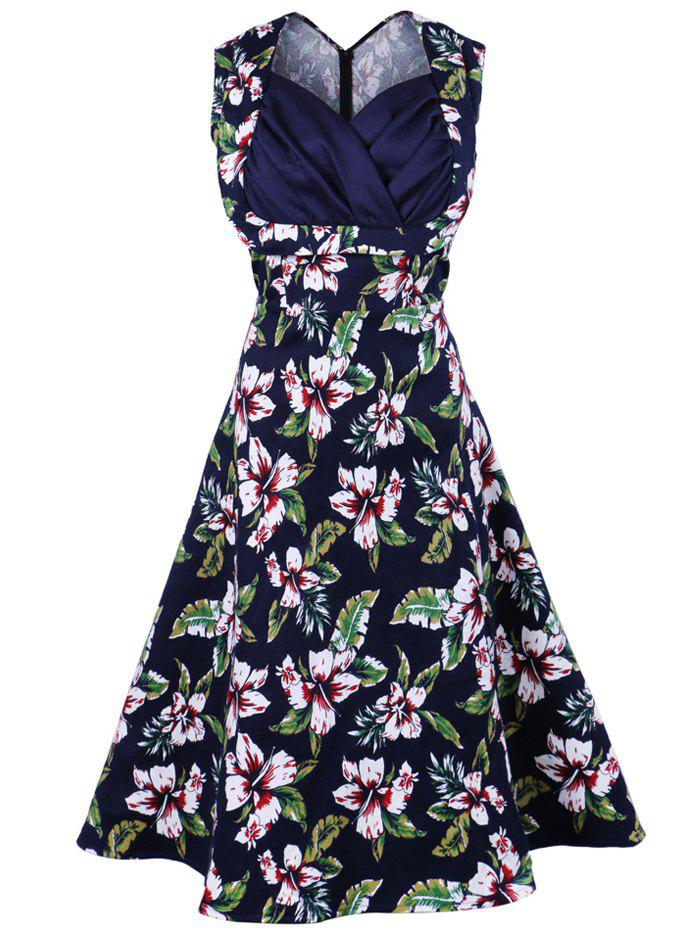 Vintage Sleeveless Print Swing A Line Dress - PURPLISH BLUE M