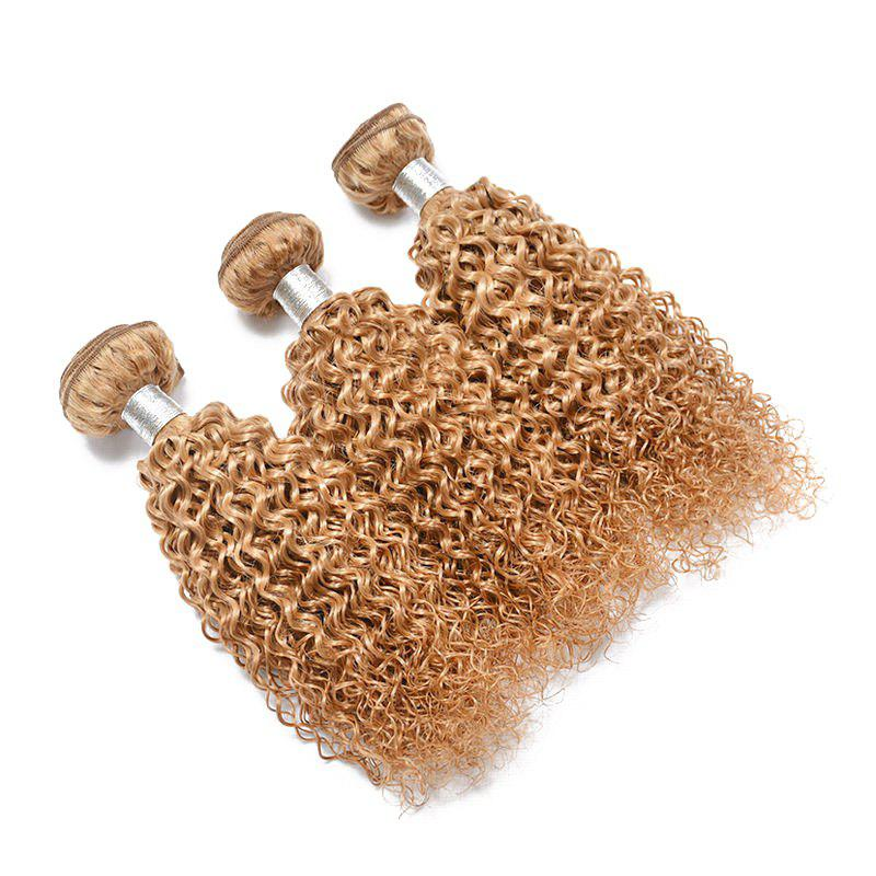 1 Pc Bouncy Brazilian 6A Virgin Kinky Curly Hair Weaves - GOLDEN BLONDE 20INCH