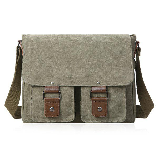 Canvas Magnetic Closure Double Pocket Messenger Bag - ARMY GREEN