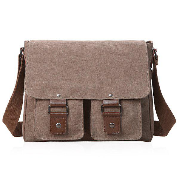 Canvas Magnetic Closure Double Pocket Messenger Bag - BROWN