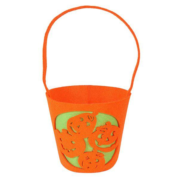 Halloween Bucket Shaped Pumpkin Bag - ORANGE