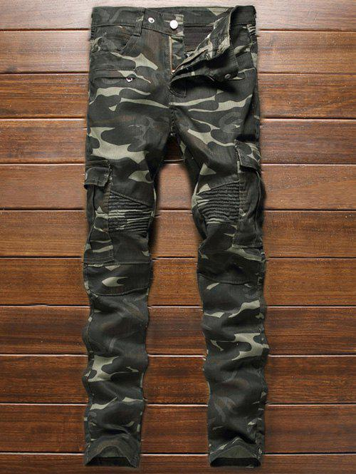 Buy Multi-Pocket Zippered Ribbed Insert Camo Jeans CAMOUFLAGE