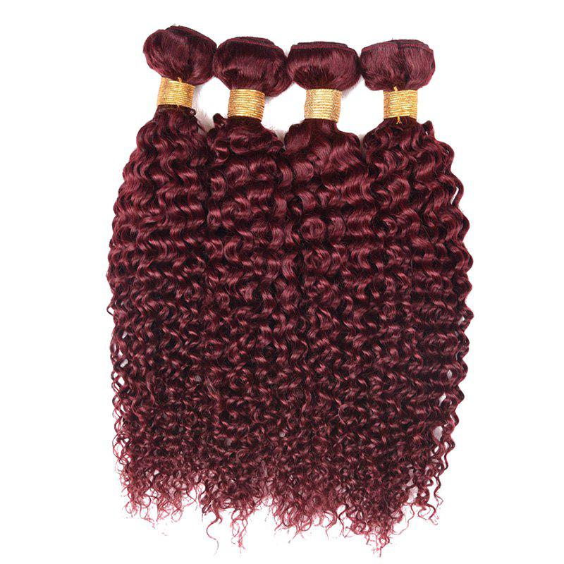 1 Pcs 6A Virgin Brazilian Bouncy Kinky Curly Tissages Cheveux - Rouge vineux 10INCH
