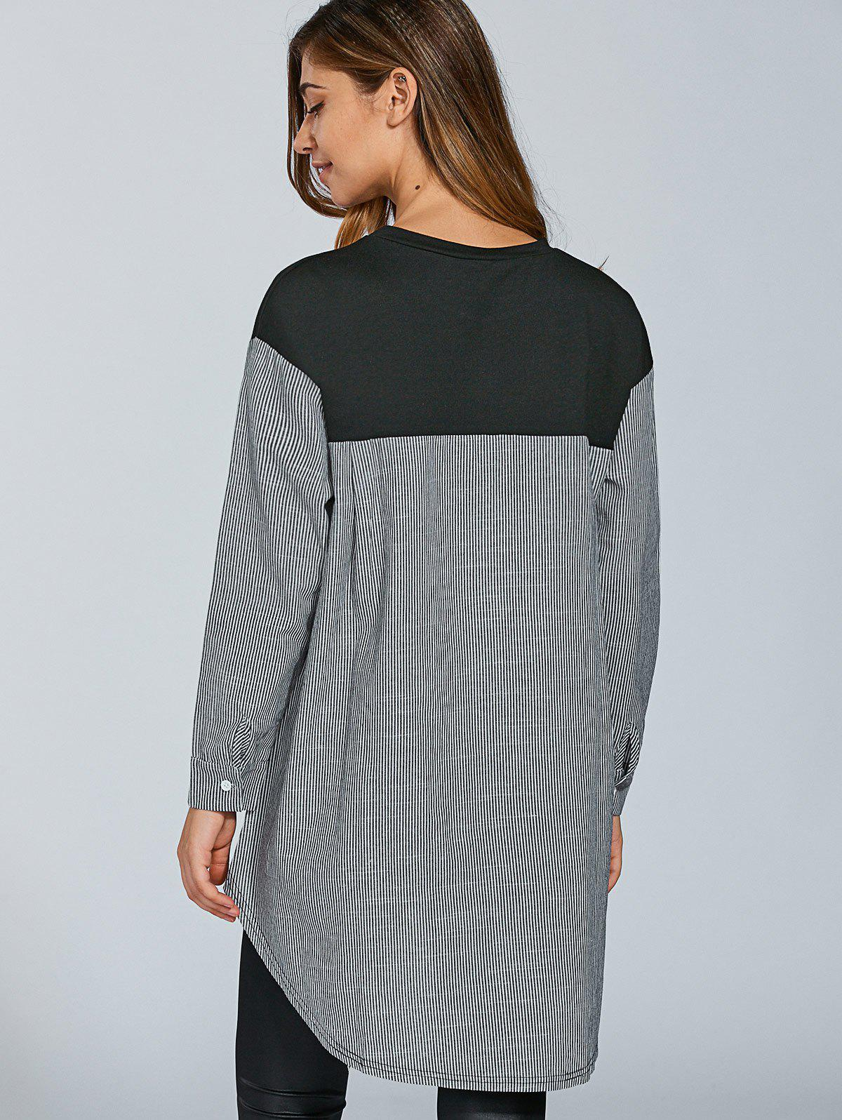 Oversize Stripe Spliced ​​T-shirt - Noir 2XL