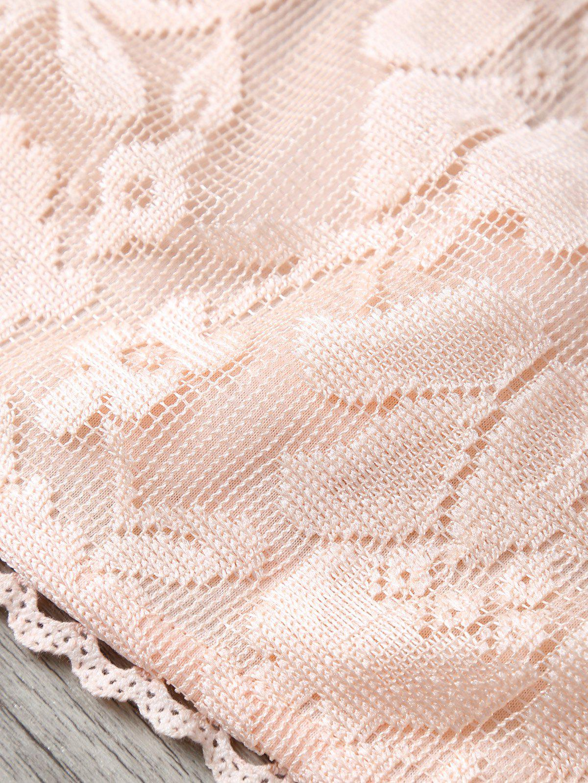 Round Neck Lace Crop Tank Top - APRICOT S