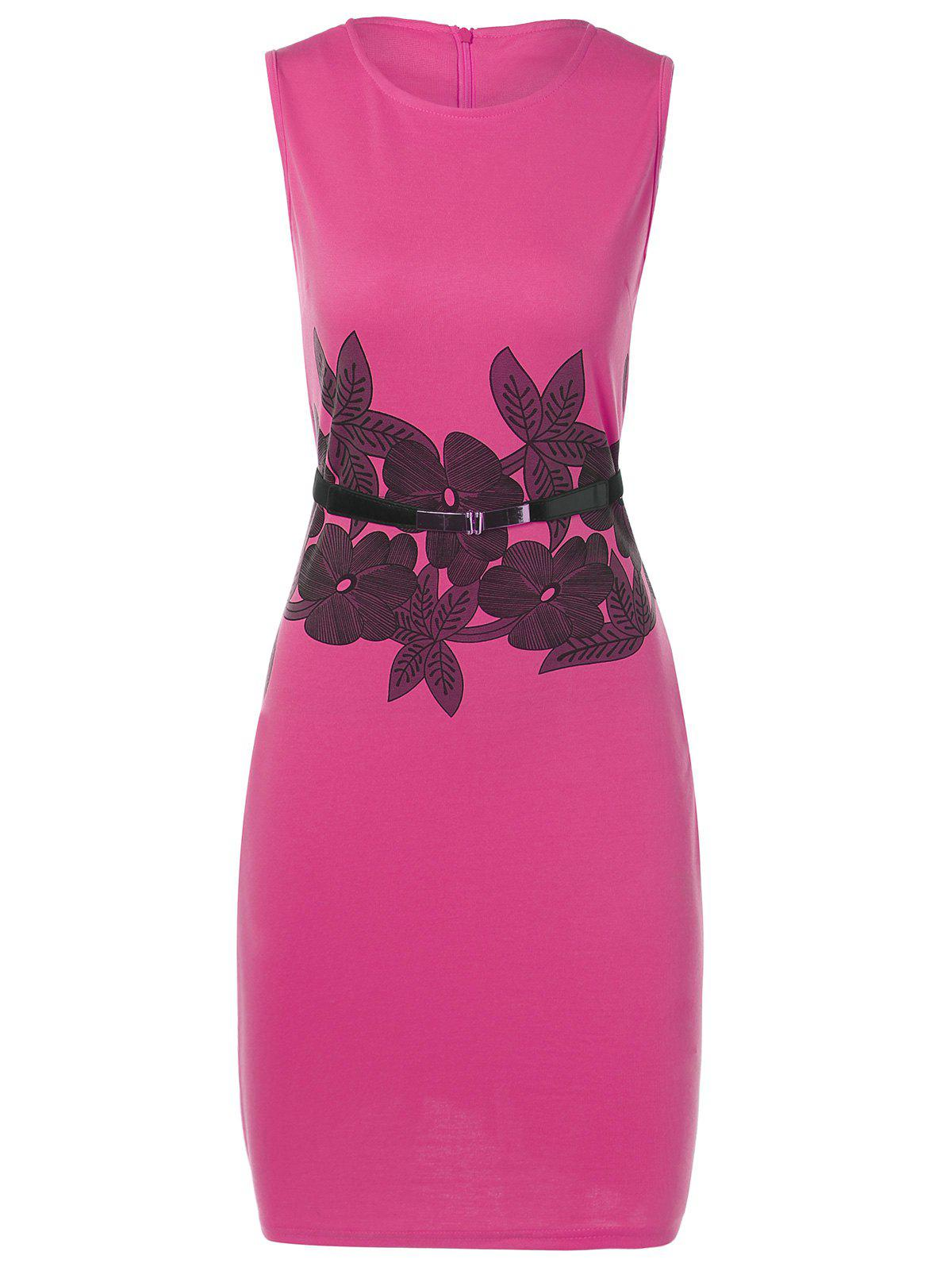 Belted Flower Print Pencil Bodycon Formal Dress - ROSE MADDER M