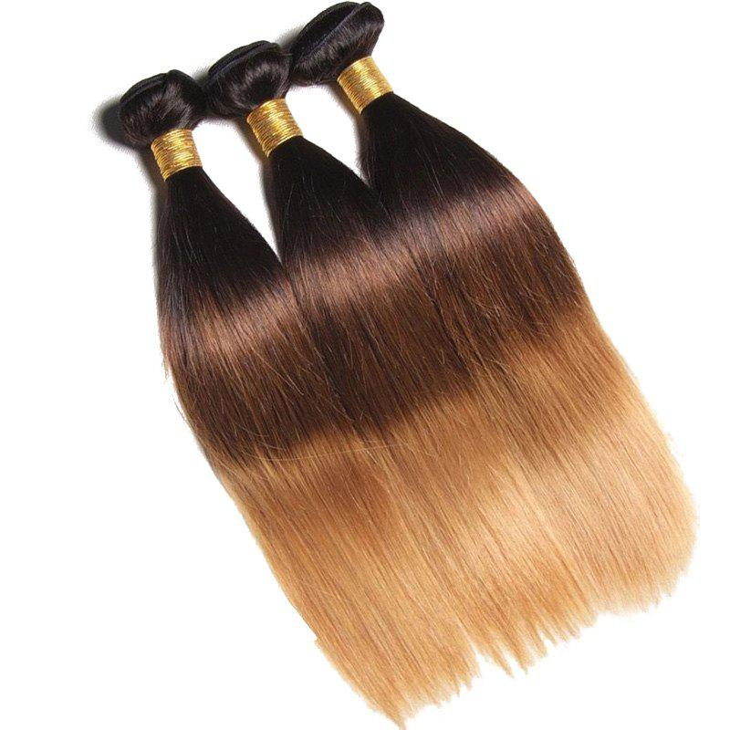 1 Pc Ombre Straight Brazilian 6A Virgin Hair WeavesHair<br><br><br>Size: 16INCH<br>Color: COLORMIX