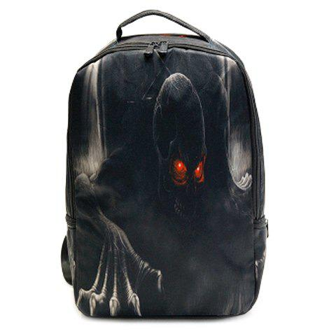 Zipper Color Spliced Skull Print Backpack - BLACK