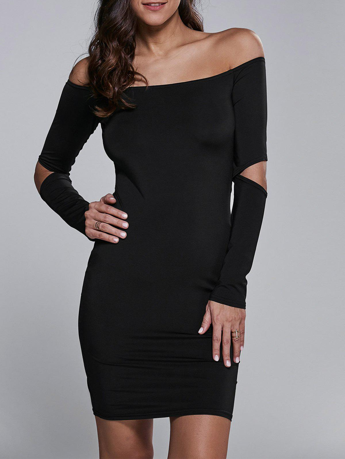 Off Shoulder Cut Out Short Cocktail Dress with Sleeves - BLACK S