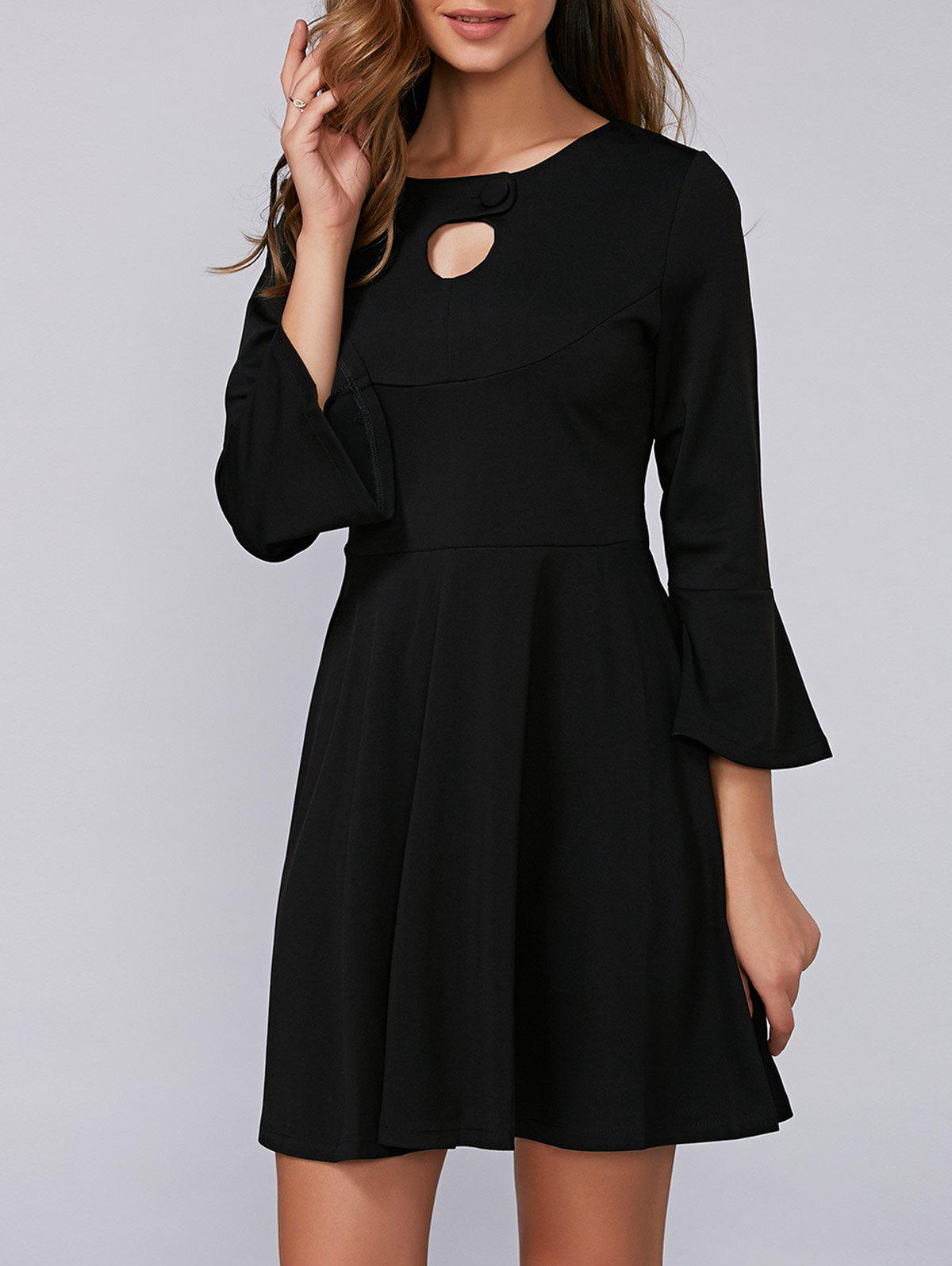 Flounce Flare Sleeve Dress - BLACK XL