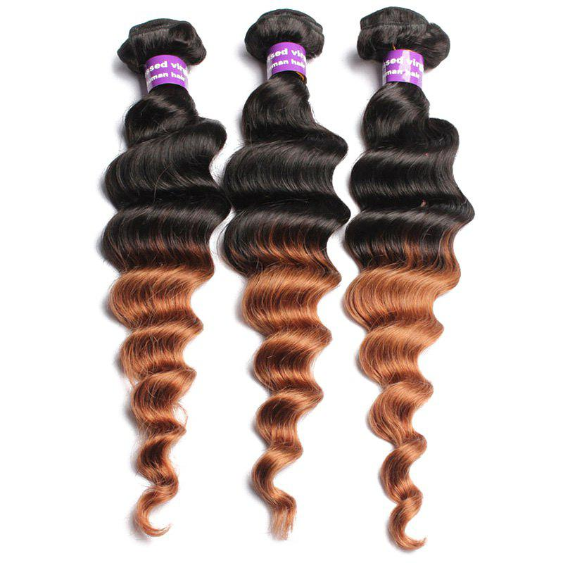 1 Pcs Loose Wave Ombre Brazilian 6A Virgin Hair WeavesHair<br><br><br>Size: 14INCH<br>Color: COLORMIX