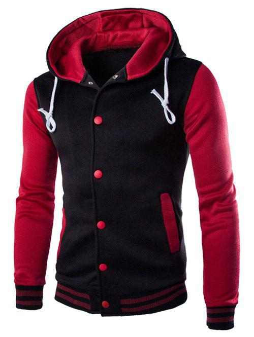 Sweat à capuche boutonné bicolore - Rouge vineux M