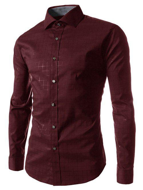Long Sleeve Gingham Pattern Shirt - WINE RED L