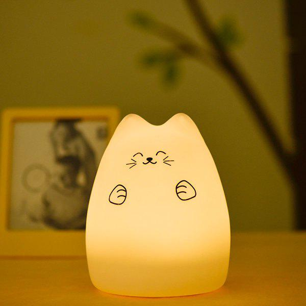 Touching Cat Cartoon Colorful Ombre LED Night Light - WHITE