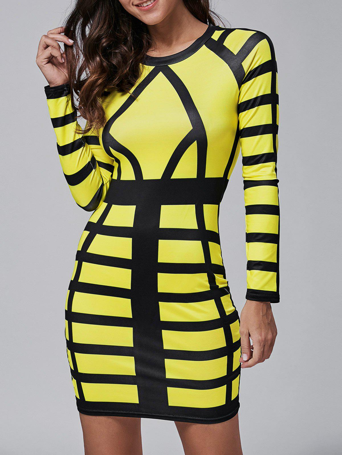 Long Sleeve Color Block Bodycon Mini Dress - YELLOW S