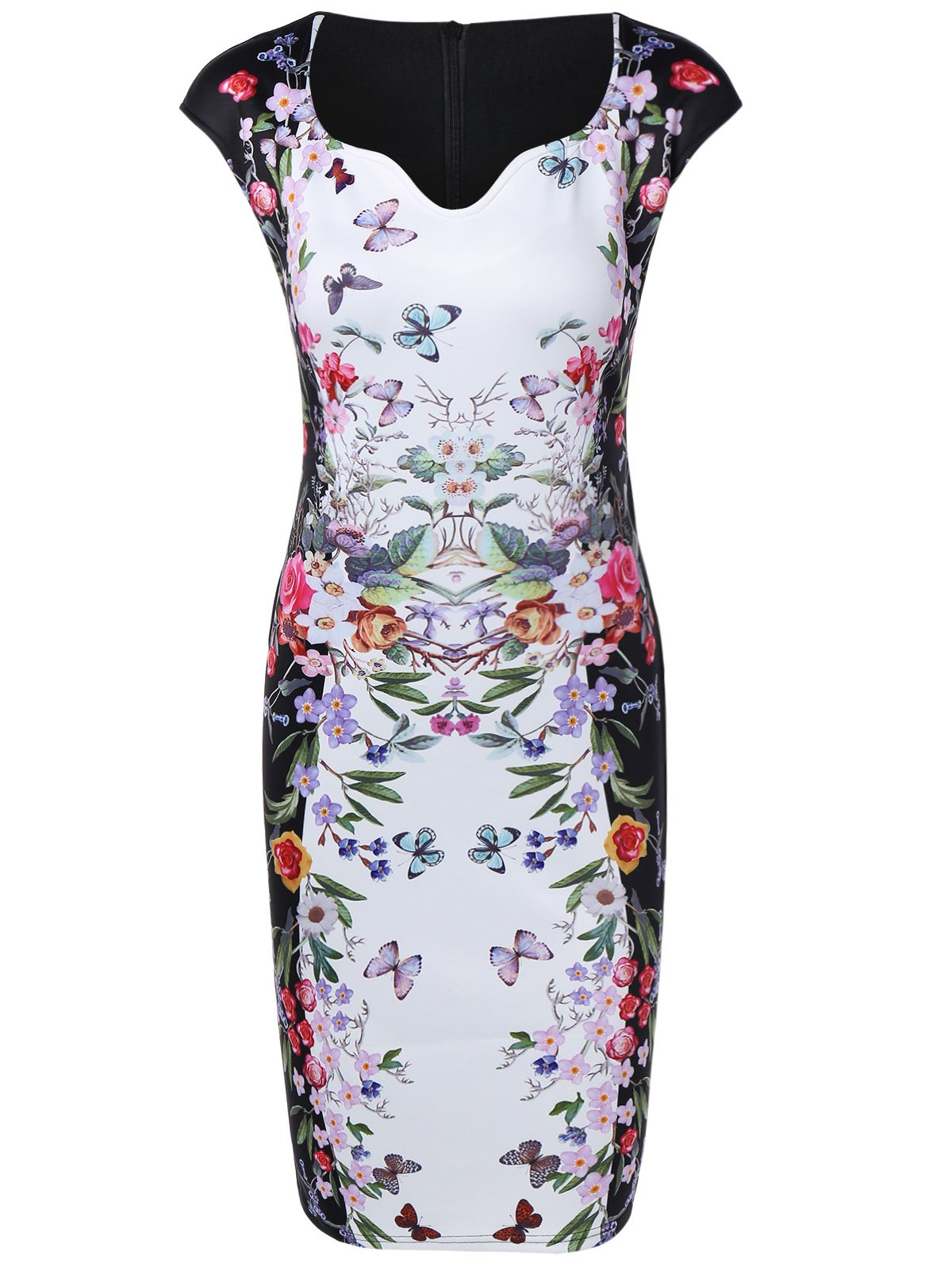 Flower Butterfly Print Bodycon Dress - WHITE S
