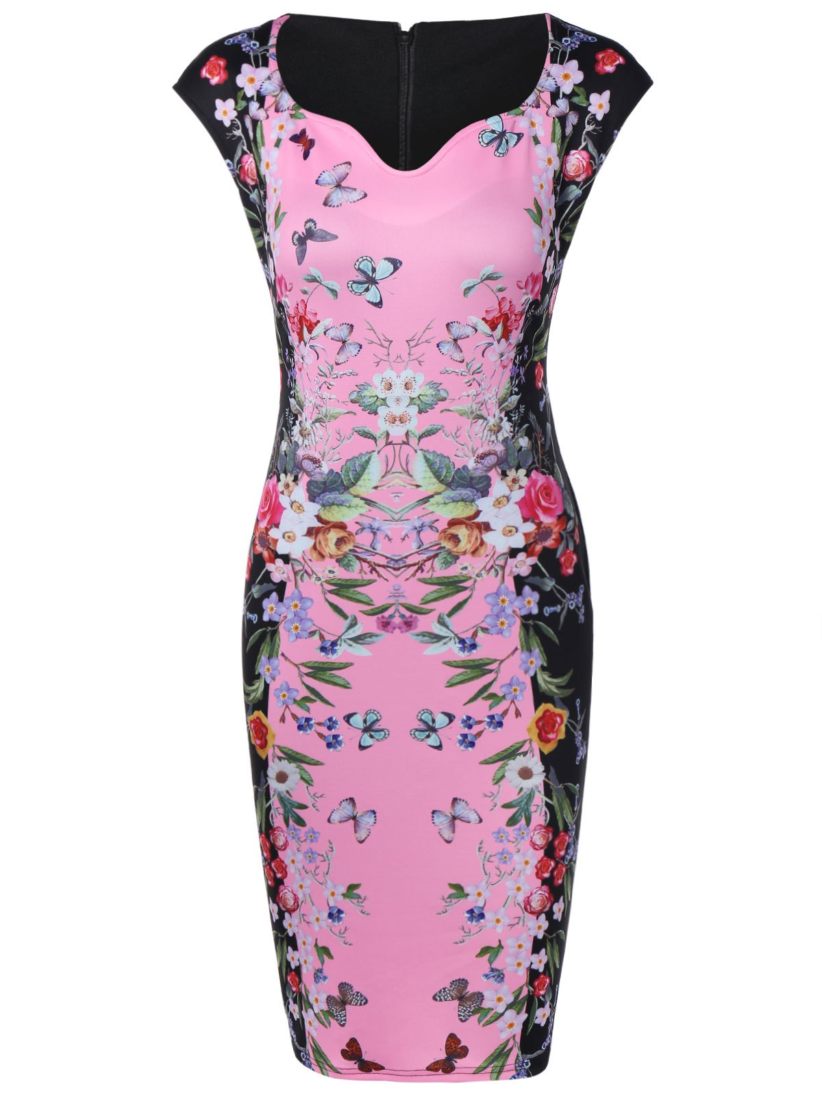 Flower Butterfly Print Bodycon Dress - PINK S