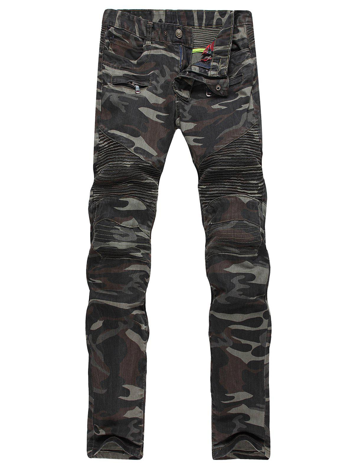 Buy Zipper Fly Camouflage Pockets Design Moto Jeans CAMOUFLAGE