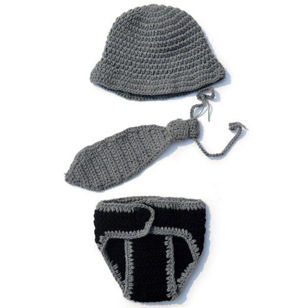 Handmade Crochet Gentry Baby Photography Costume Set - GRAY
