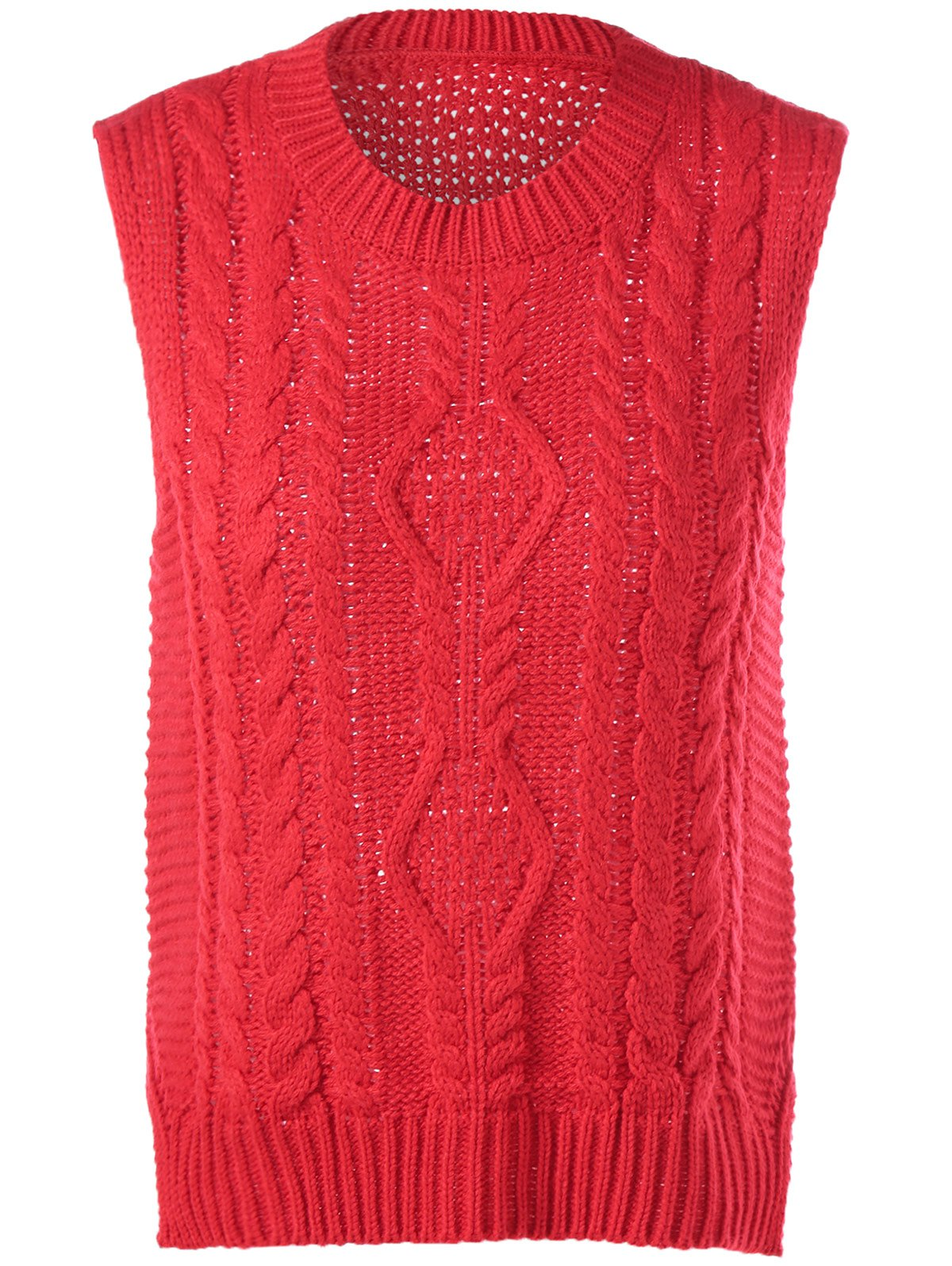 Cable-Knit Sleeveless Textured Knitwear - RED ONE SIZE