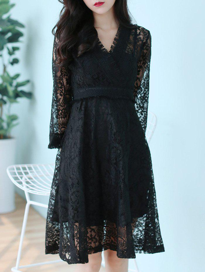 Long Sleeve Sheer Lace Surplice Dress - BLACK L