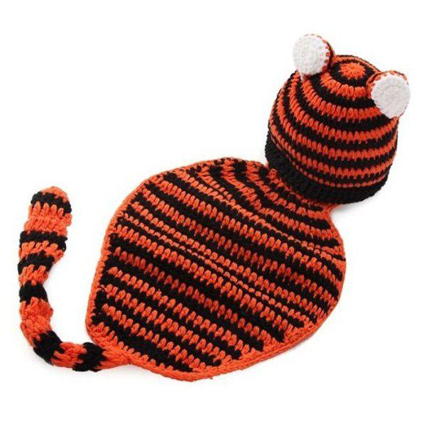 Bébé fil tricoté Tiger Prop Photographie Costume Set - Noir et Orange
