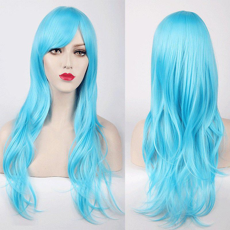 Multicolor Long Layered Tail Adduction Side Bang Cosplay Lolita Synthetic Wig - AZURE