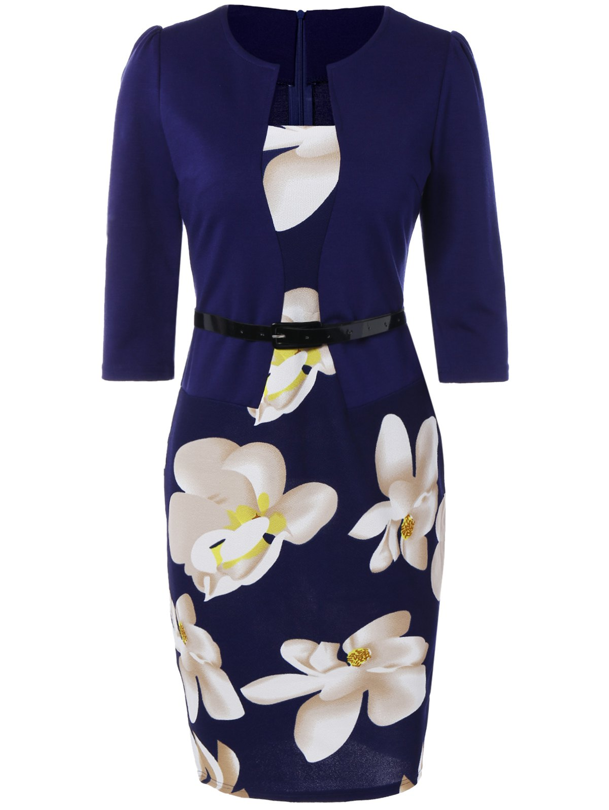 Floral Sheath Knee Length Pencil Work Dress - PURPLISH BLUE S