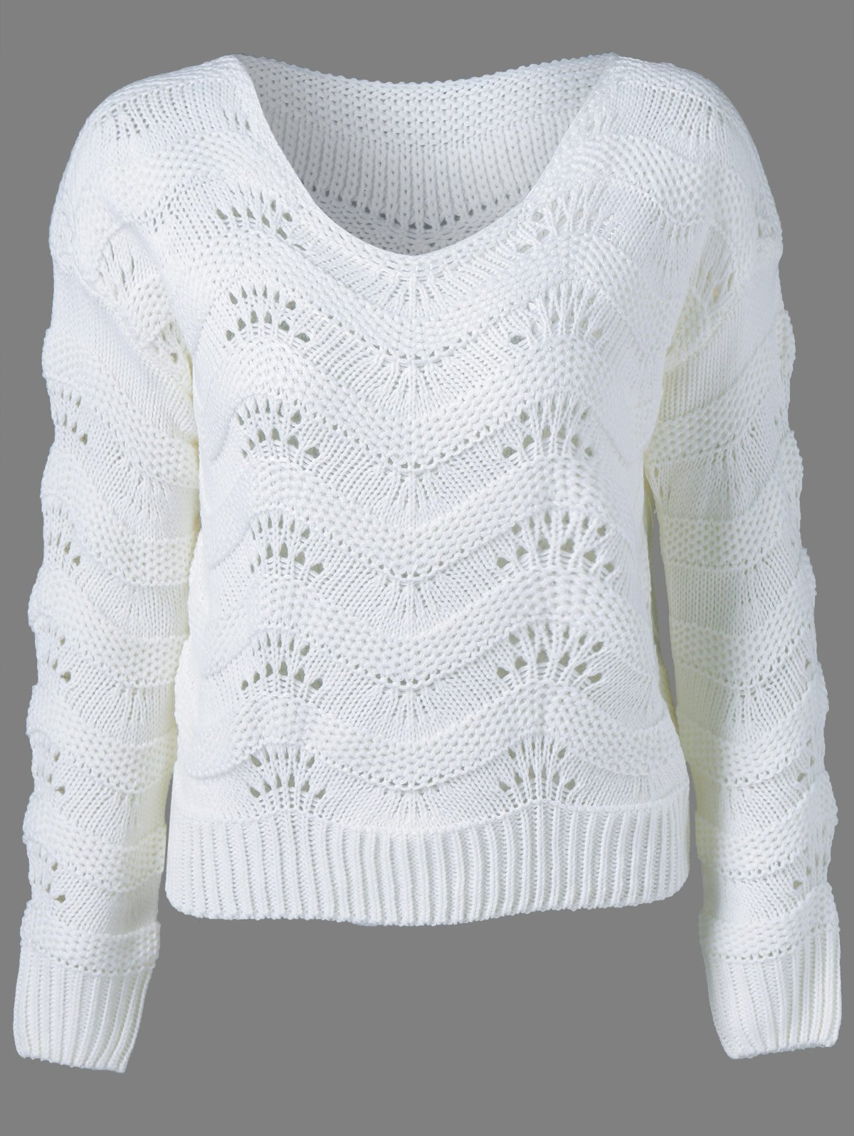 Ribbed Openwork Sweater - WHITE ONE SIZE