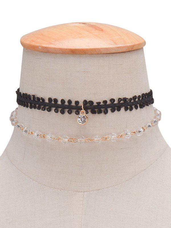 Rhinestone Braid Layered Choker Necklace triple layered rhinestone choker necklace