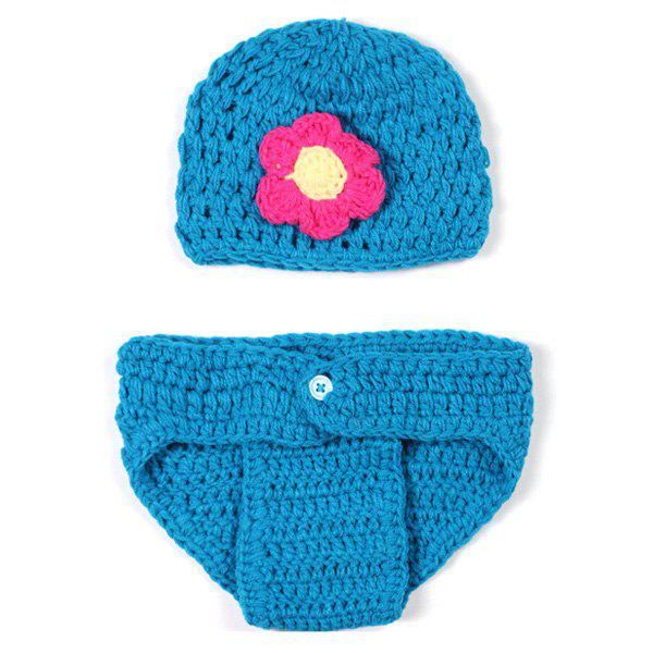Baby Yarn Knitted Floral Photography Prop Costume Set - BLUE