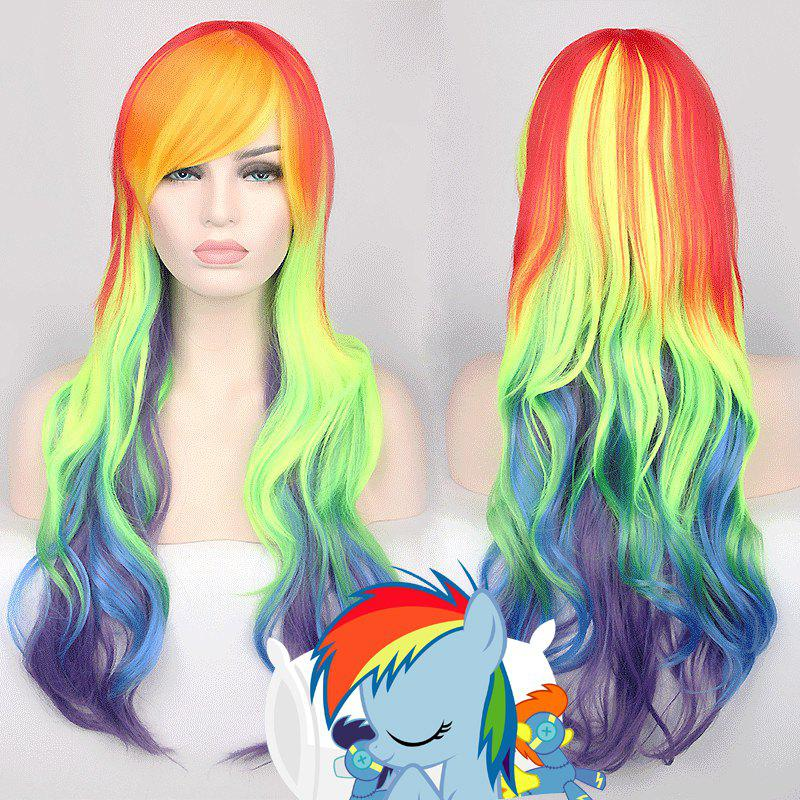 Long Side Bang Wavy Rainbow Dash My Little Pony Cosplay Synthetic WigHair<br><br><br>Color: COLORMIX