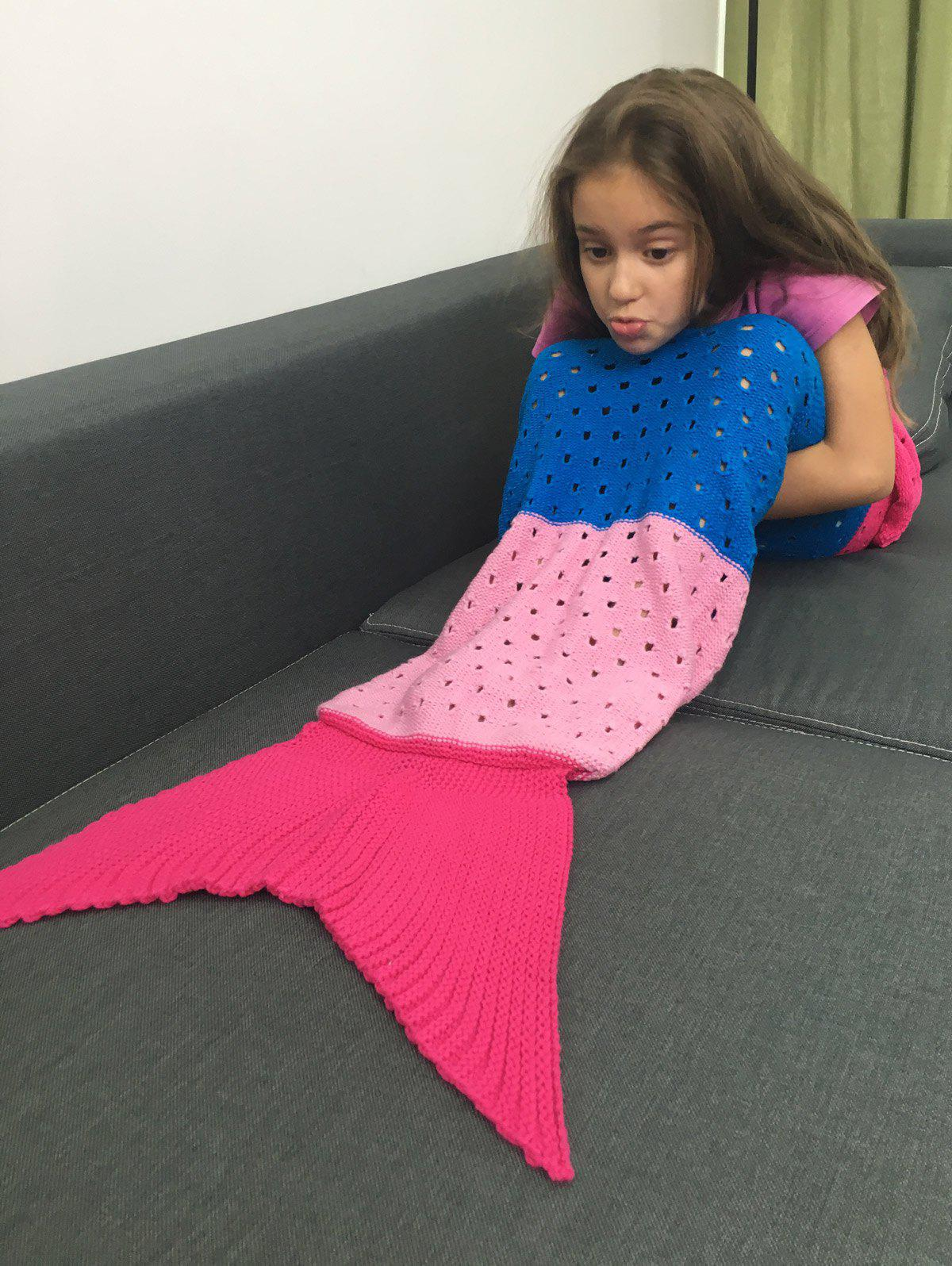 Comfortable Color Block Crochet Knitting Mermaid Tail Blanket For Kids - COLORMIX M