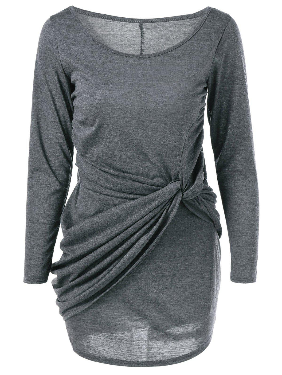Scoop Neck Twist-Front Dress - GRAY S