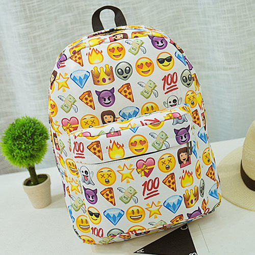 Emoji Printed Nylon Backpack боди paccio