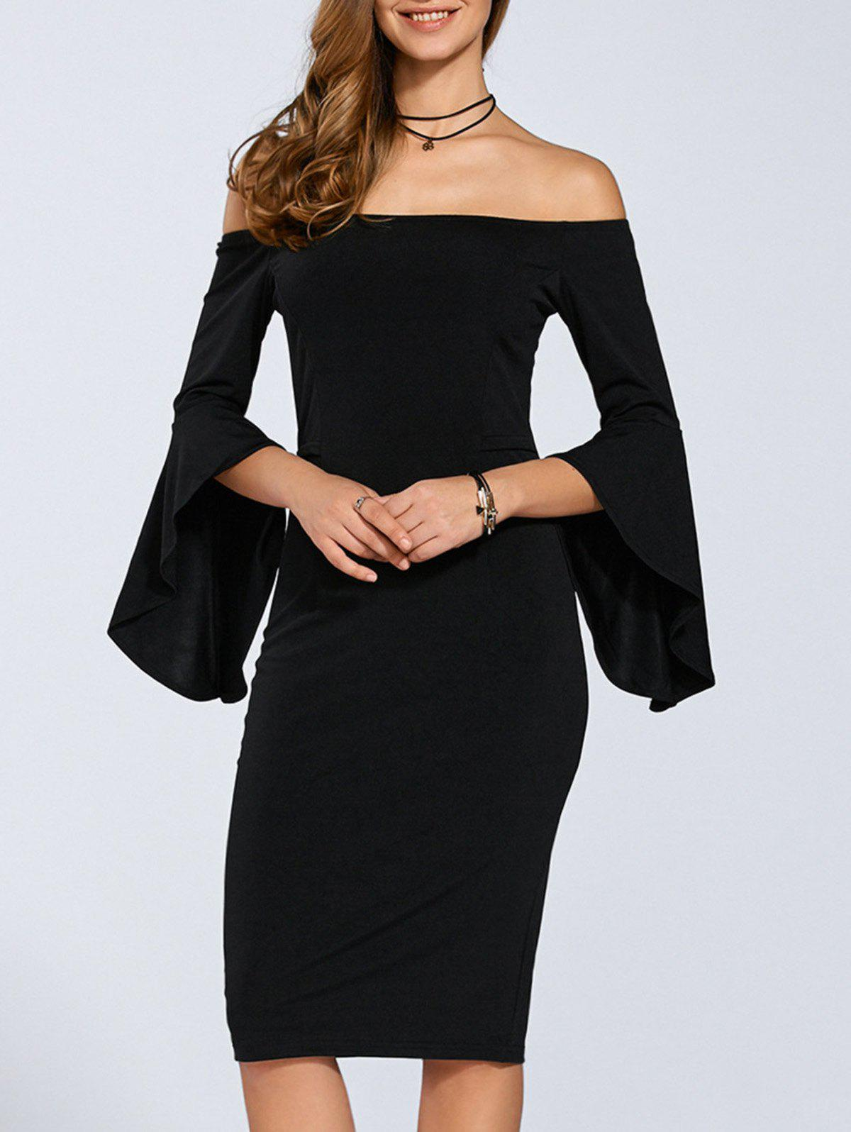 Autumn Flare Sleeve Off-The-Shoulder Dress - BLACK M