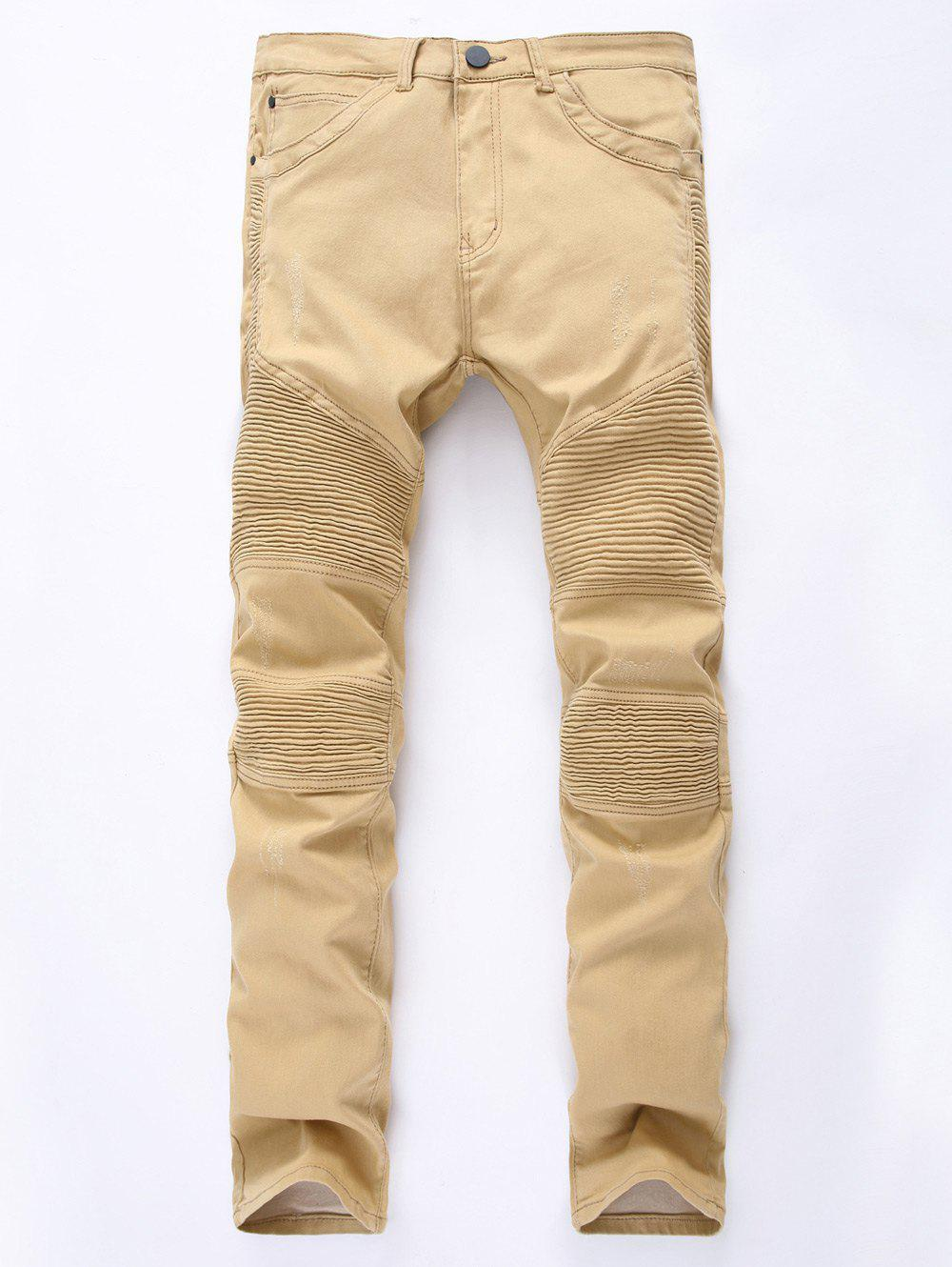 Zipper Up Khaki Moto JeansMen<br><br><br>Size: 38<br>Color: KHAKI