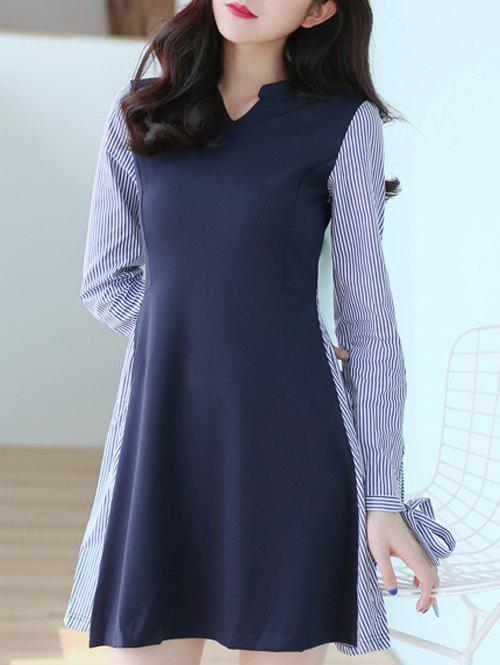 V Neck Long Sleeve Striped Spliced Dress - PURPLISH BLUE S
