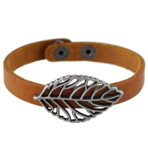 Leaf Filigree Faux Leather Bracelet - ANTIQUE BROWN