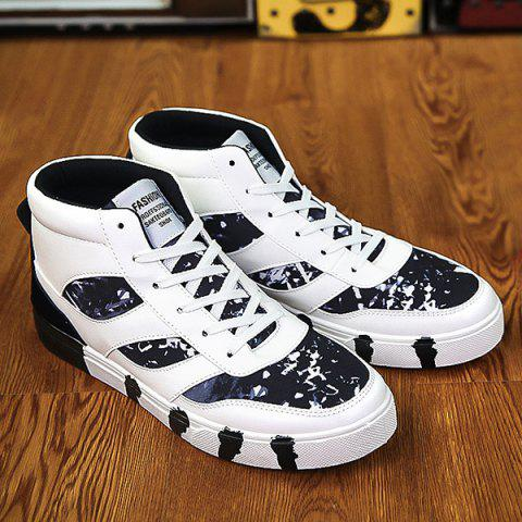 Color Block Splicing Lace Up High Top Chaussures de skate - Noir 40