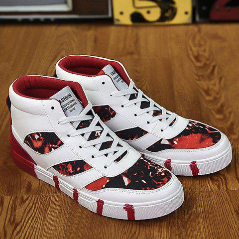 Color Block Splicing Lace Up High Top Skate Shoes - RED 41
