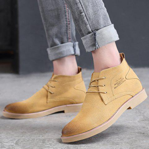 Pointed Toe Tie Up Casual Shoes - YELLOW 44