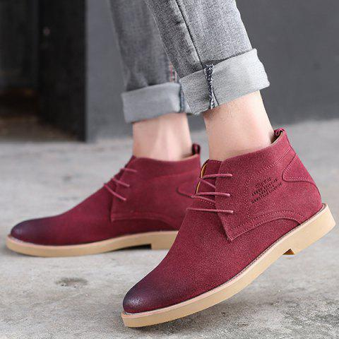 Pointed Toe Tie Up Casual Shoes - RED 44