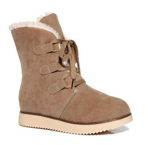 Lace-Up Flat Heel Snow Boots - APRICOT 39